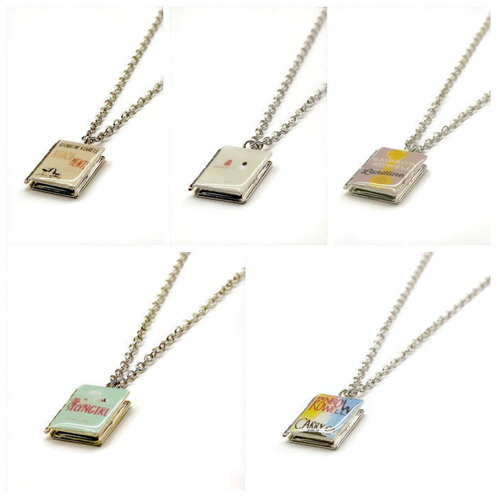 Rainbow Rowell Collection Book Necklace - LitLifeCo.