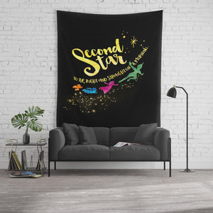 Second star to the right... Peter Pan Quote Wall Tapestry - LitLifeCo.