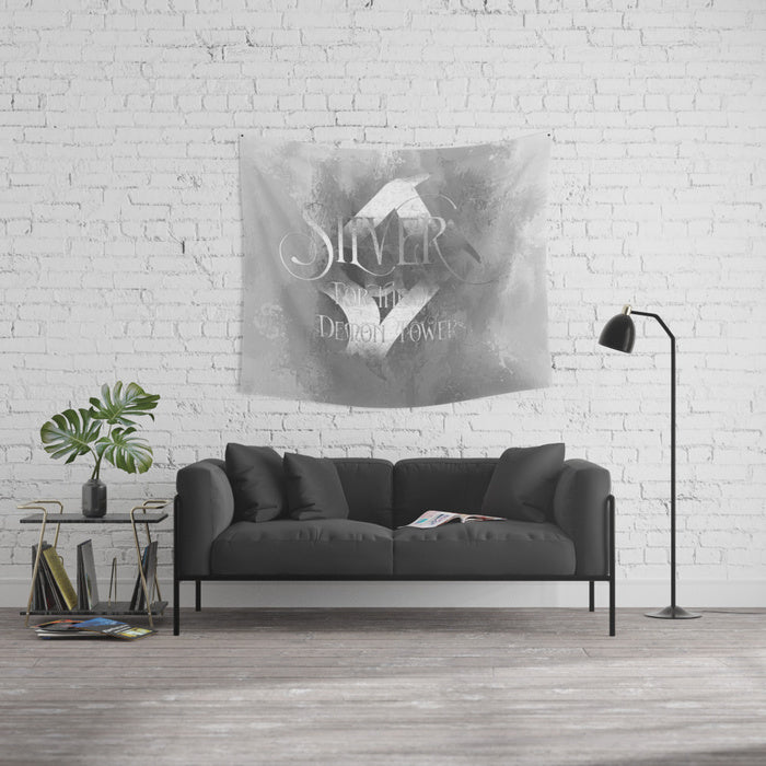 SILVER for the demon towers. Shadowhunter Children's Rhyme Wall Tapestry - LitLifeCo.