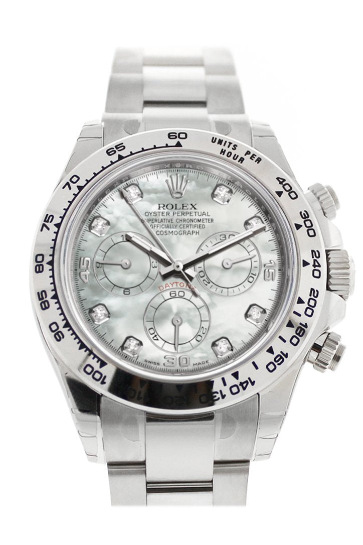 Rolex Cosmograph Daytona Mother Of Pearl Diamond Dial White Gold Oyster Mens Watch 116509