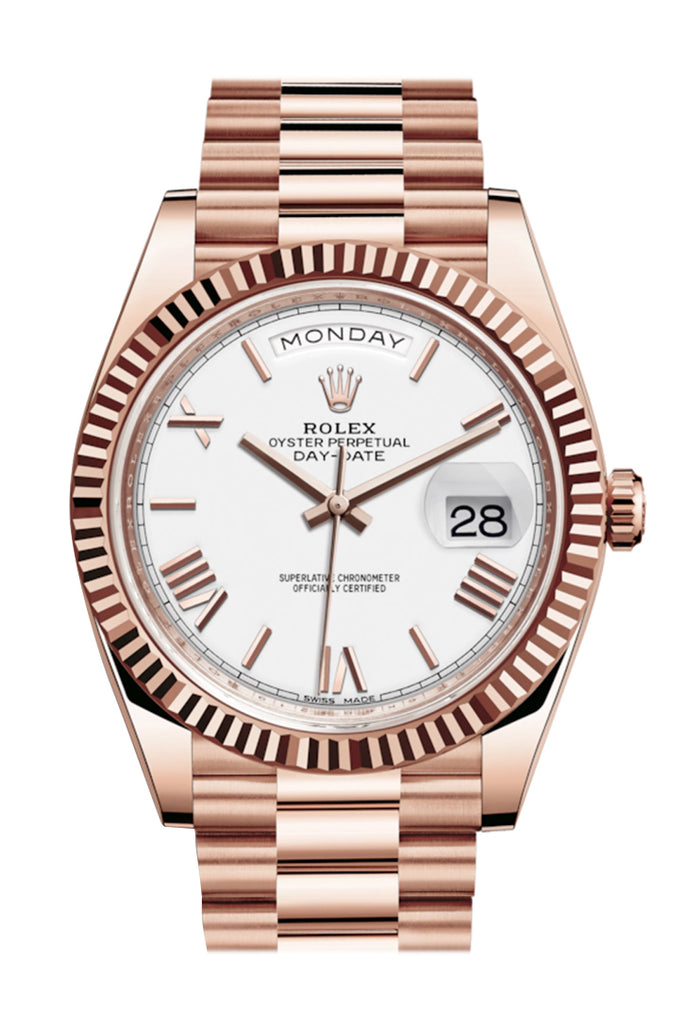 Rolex Day-Date 40 White Roman Dial Fluted Bezel 18K Everose gold President Automatic Men's Watch 228235