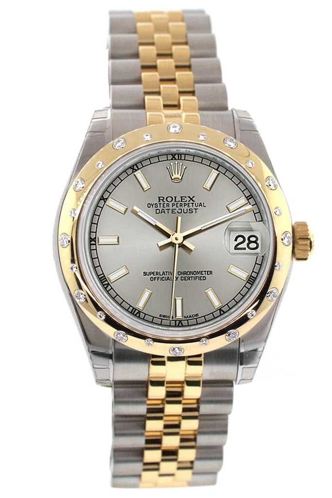 Rolex Datejust 31 Silver Dial Diamond Bezel 18K Gold Two Tone Jubilee Ladies 178343