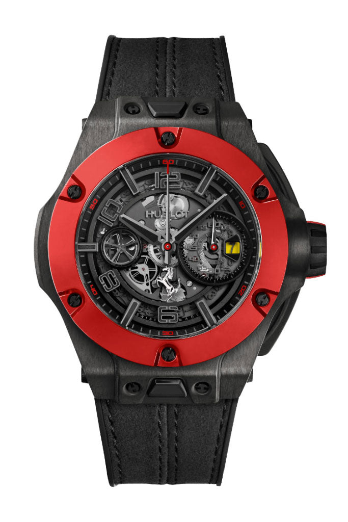 Hublot Big Bang Unico Ferrari Red Ceramic Chronograph Automatic Black Dial Watch 402.QF.0110.WR