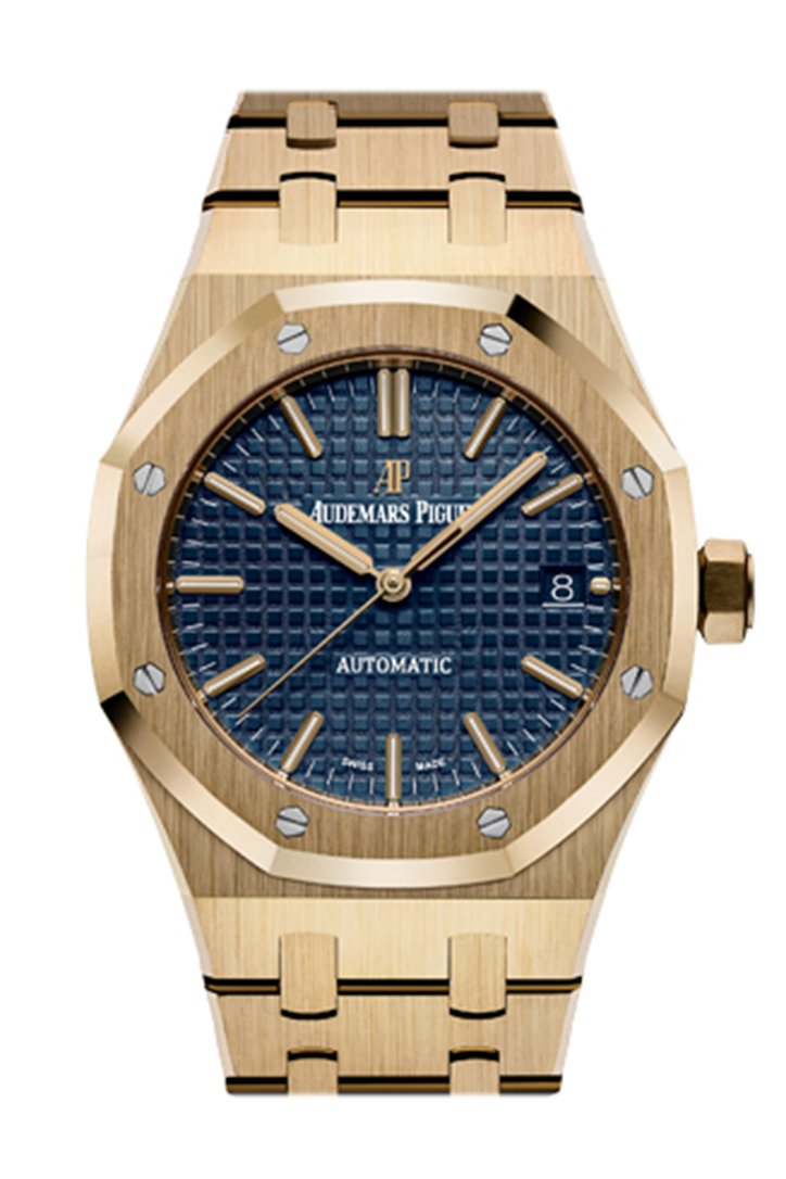 Audemars Piguet Royal Oak 37mm Blue Dial Automatic 18K Yellow Gold Watch 15450BA.OO.1256BA.02
