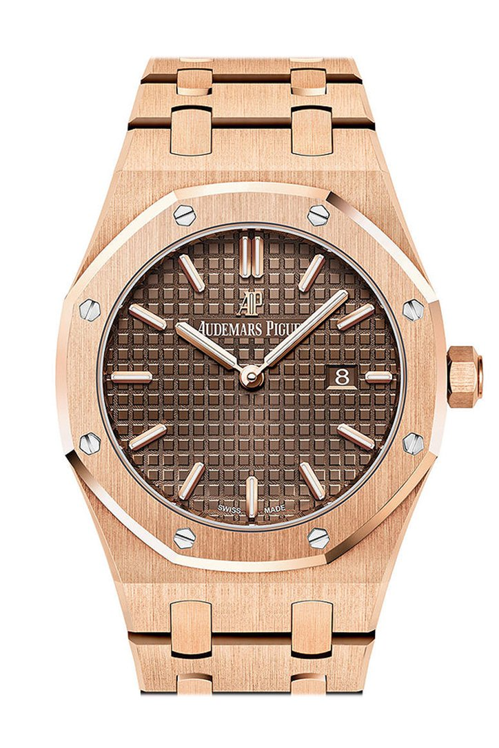 AUDEMARS PIGUET Royal Oak Brown Dial Ladies 18kt Pink Gold Watch 67650OR.OO.1261OR.01