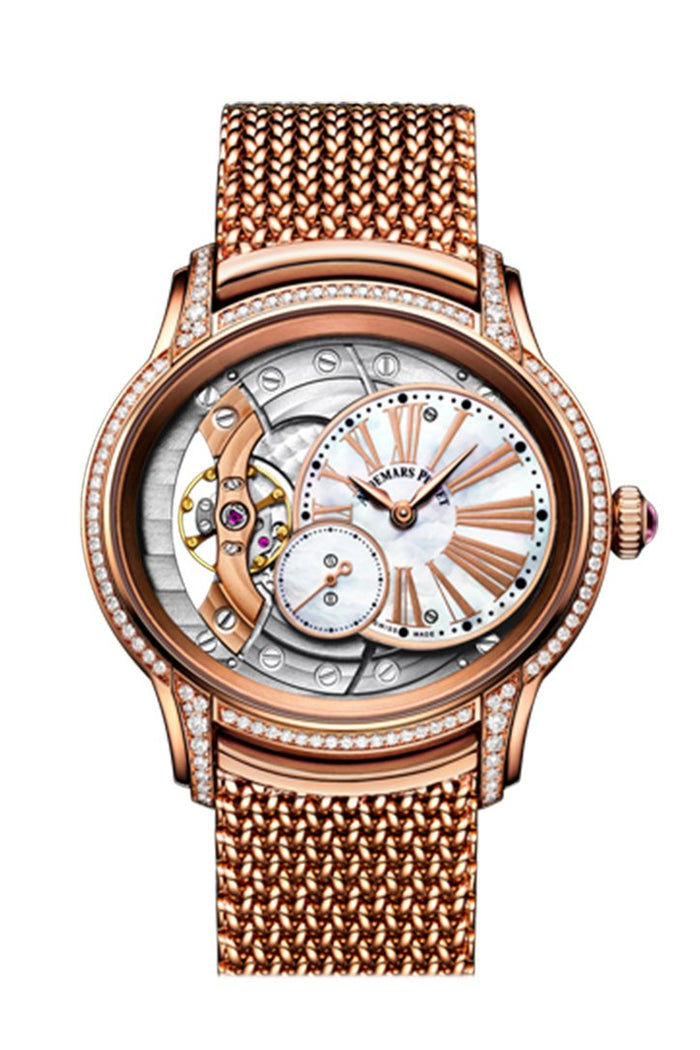 Audemars Piguet Millenary Mother of Pearl Dial Ladies 18kt Rose Gold Hand Wound Watch 77247OR.ZZ.1272OR.01