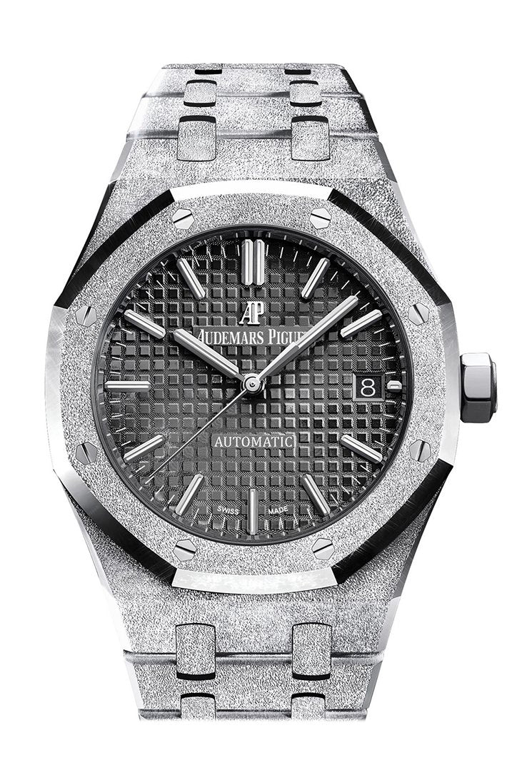 Audemars Piguet Royal Oak Frosted Gold Black Dial Ladies 18K White Watch 15454Bc.gg.1259Bc.03