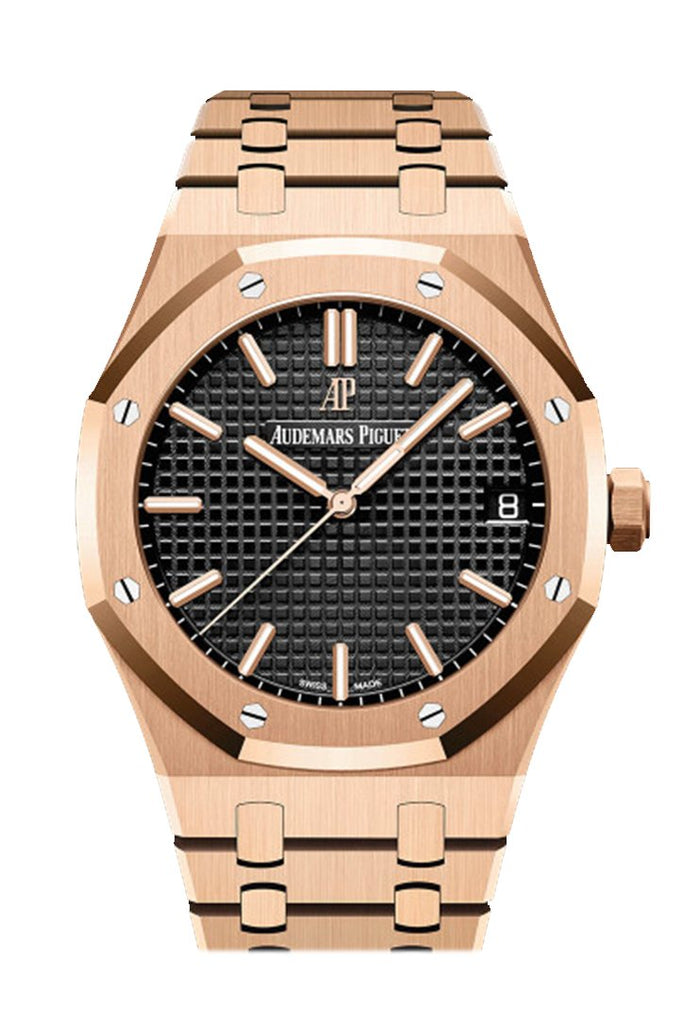 Audemars Piguet Royal Oak Black Dial Automatic Mens 18Kt Rose Gold Watch 15500Or.oo.1220Or.01