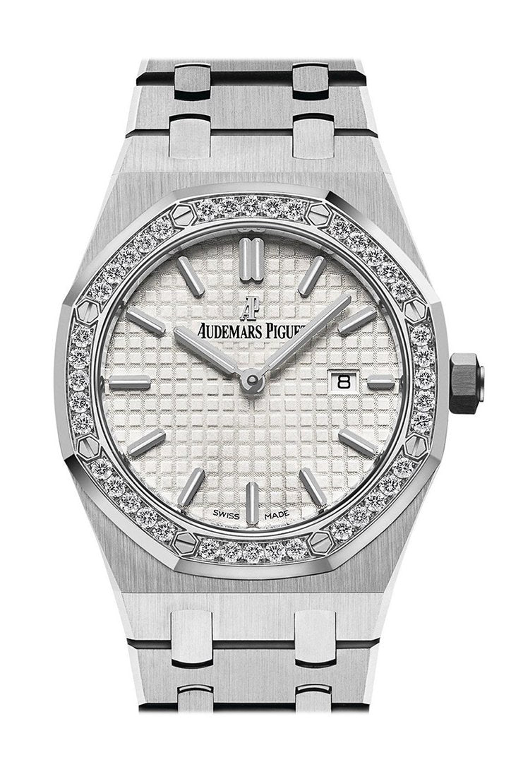 Audemars Piguet Royal Oak Diamond Silver Dial Stainless Steel Ladies Watch 67651St.zz.1261St.01