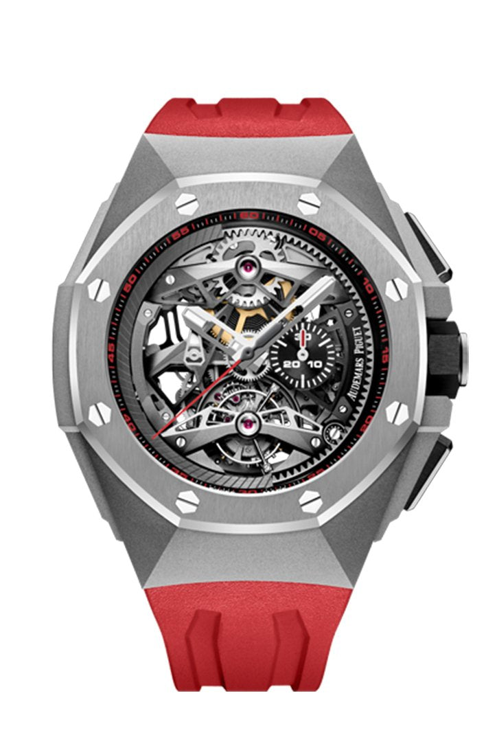 Audemars Piguet Royal Oak Concept Tourbillon Chronograph In Titanium Red Rubber Strap With Skeleton