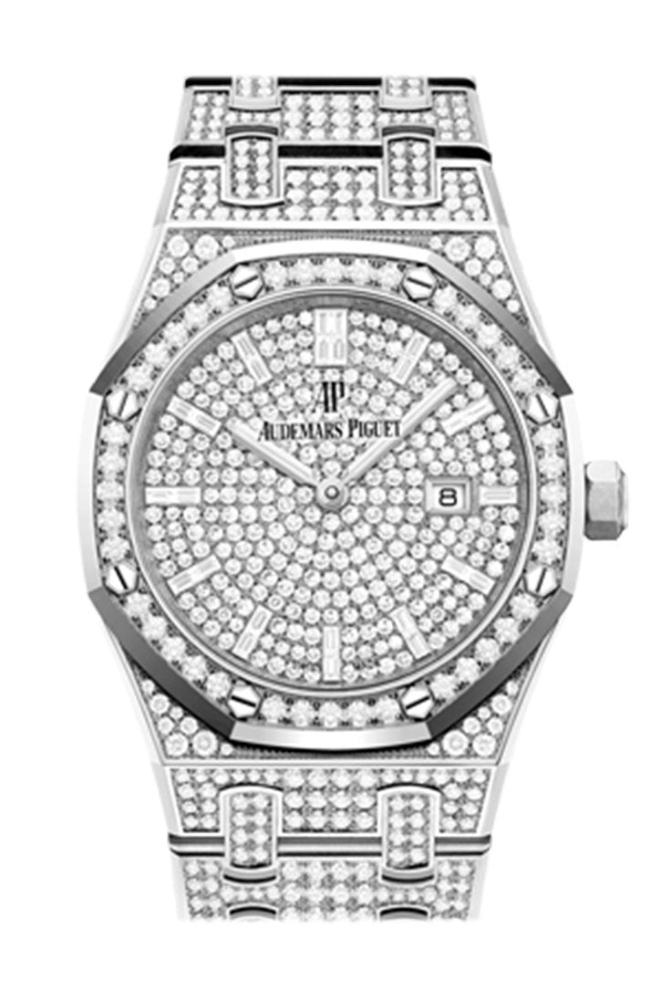 Audemars Piguet Royal Oak Quartz Diamond Dial White Gold Pave Bracelet Watch 67652Bc.zz.1265Bc.01