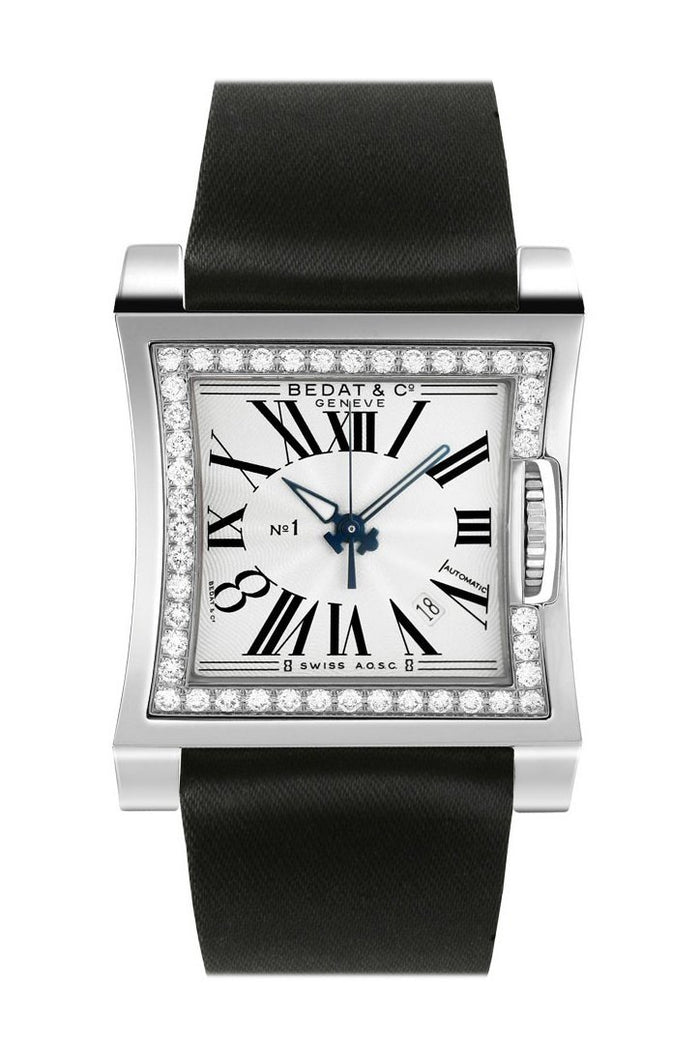 Bedat No. 1 Silver Dial Diamond Black Satin Unisex Watch 114.030.100
