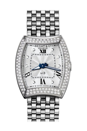 Bedat No. 3 Silver Dial Diamond Bezel Stainless Steel Ladies Watch 316.031.109