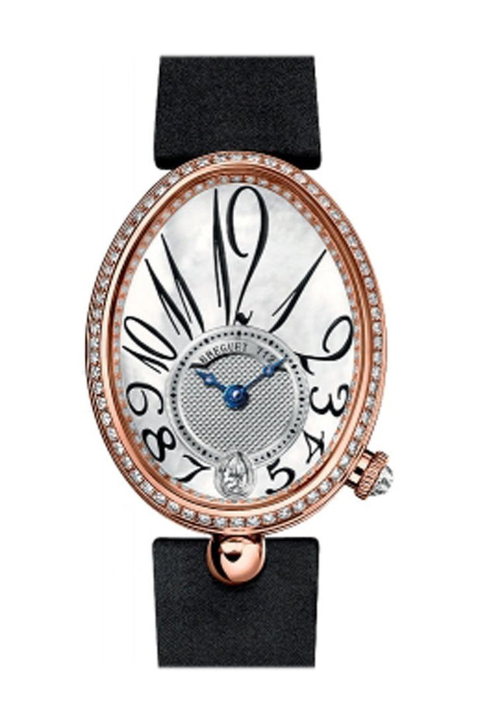 Breguet Reine de Naples Mother of Pearl Dial 18kt Rose Gold Black Ladies Diamond Watch 8918BR58864D00D