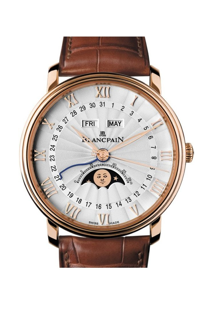 Blancpain Villeret Moonphase And Complete Calender Rose Gold 6664-3642-55B Silver Watch