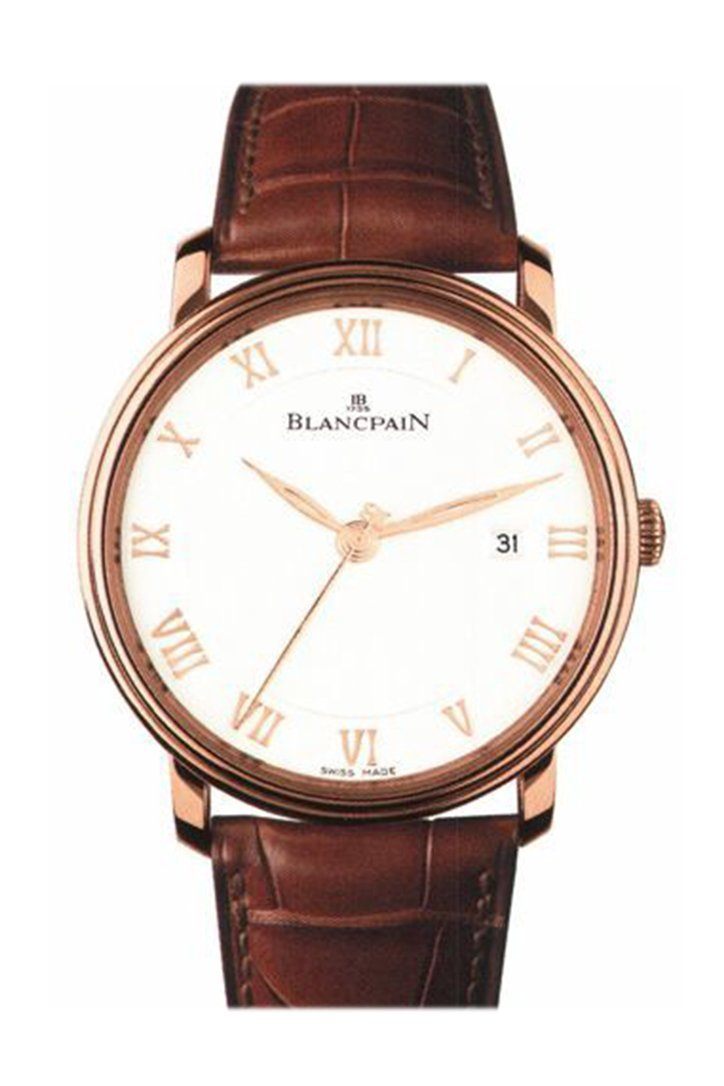 Blancpain Villeret White Dial 18Kt Rose Gold Brown Leather Mens Watch 6651-3642-55B
