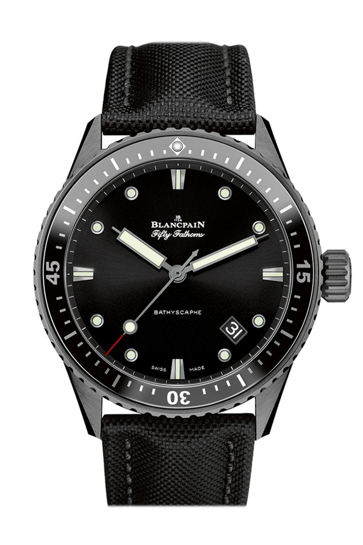 Blancpain Fifty Fathoms Bathyscaphe Automatic Black Dial Fabric Mens Watch 5000-0130-B52A