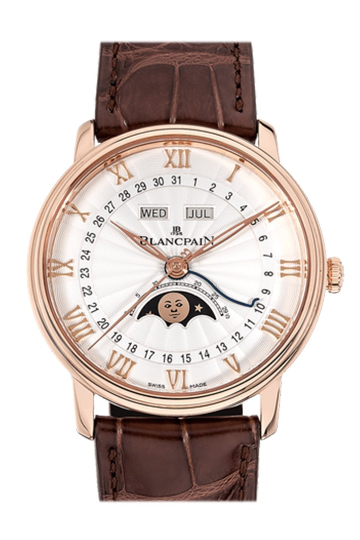 Blancpain Villeret Moonphase White Dial 18kt Rose Gold Brown Leather Men's Watch 6654-3642-55B