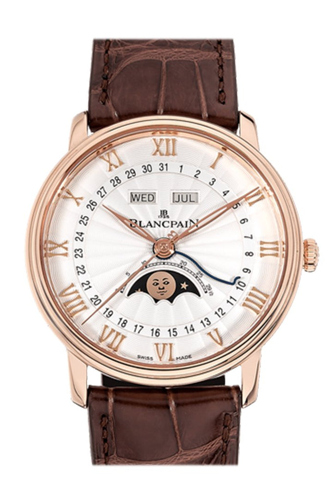 Blancpain Villeret Moonphase White Dial 18Kt Rose Gold Brown Leather Mens Watch 6654-3642-55B