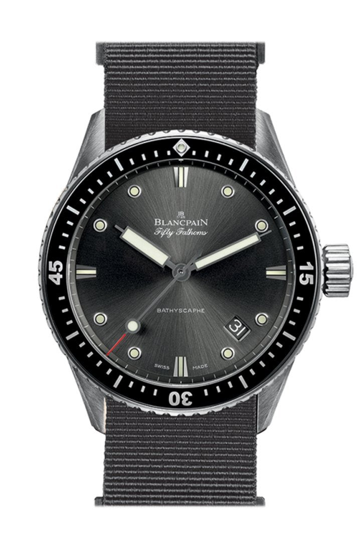 Blancpain Fifty Fathoms Bathyscaphe Black Dial Fabric 5000-1110-Naba Watch
