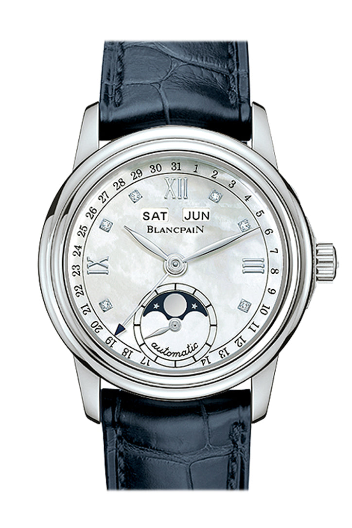 Blancpain Leman Automatic White Mother of Pearl Dial Ladies Watch 2360-1191A-55B