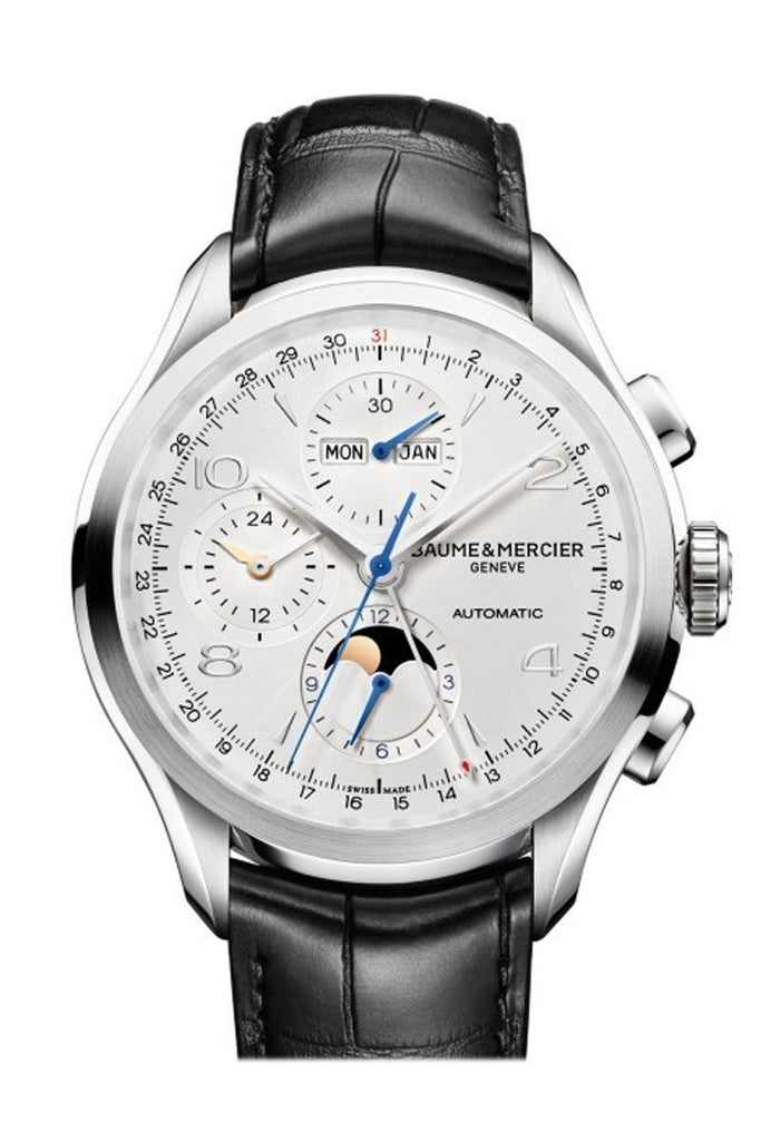 Baume & Mercier And Clifton Moonphase Complete Calender Chronogragh 10278 Silver Watch