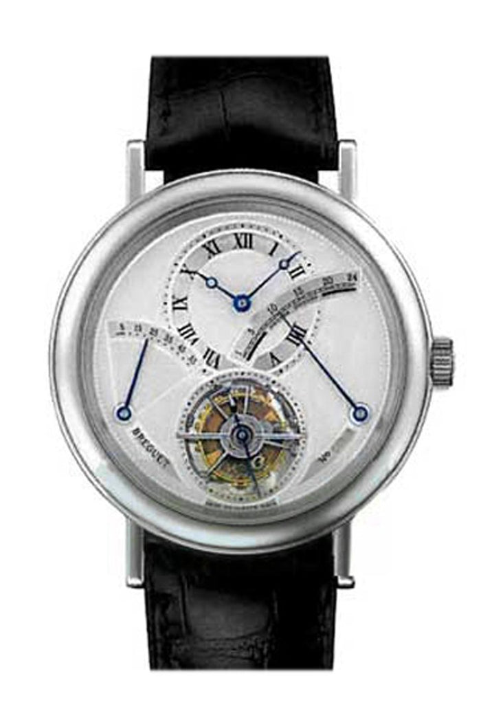Breguet Tourbillon Silver Dial Platinum Black Leather Men's Watch 3657PT129V6