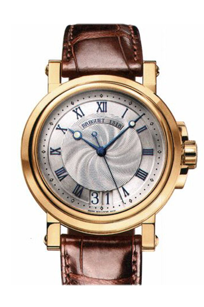 Breguet Marine Silver Dial Leather Mens Watch 5817Ba129V8