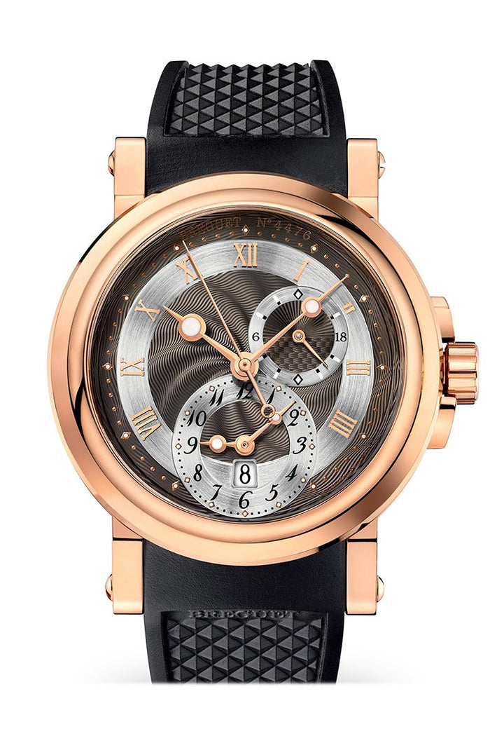 Breguet Marine Dual Time Black Dial Rose Gold Black Rubber Men's Watch 5857BRZ25ZU
