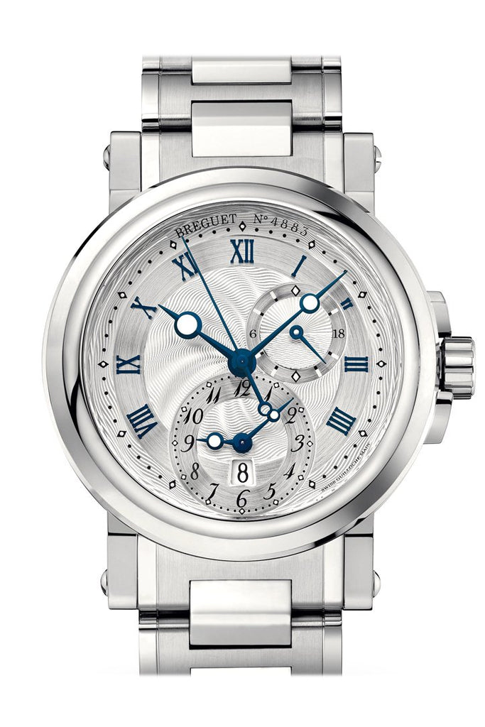 Breguet Marine Dual Time On Steel Silver Dial 5857St12Sz0 Watch