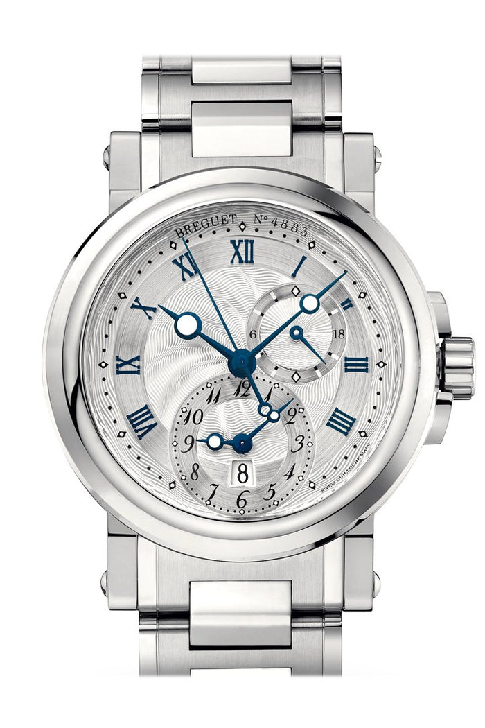 Breguet Marine Dual Time On Steel Silver Dial 5857ST12SZ0