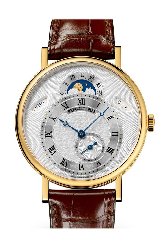 Breguet Classique Automatic Moonphase Silver Dial 18 kt Yellow Gold Men's Watch 7337BA1E9V6