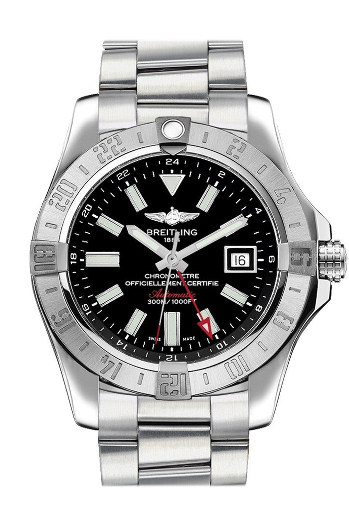 Breitling Avenger II GMT Black Stick Dial Steel Men's Watch A3239011/BC35-170A