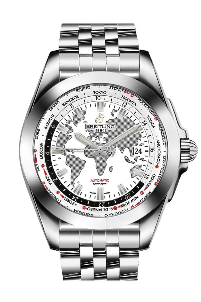 Breitling Galactic Unitime White Dial Stainless Steel Automatic Men's Watch WB3510U0/A777/375A