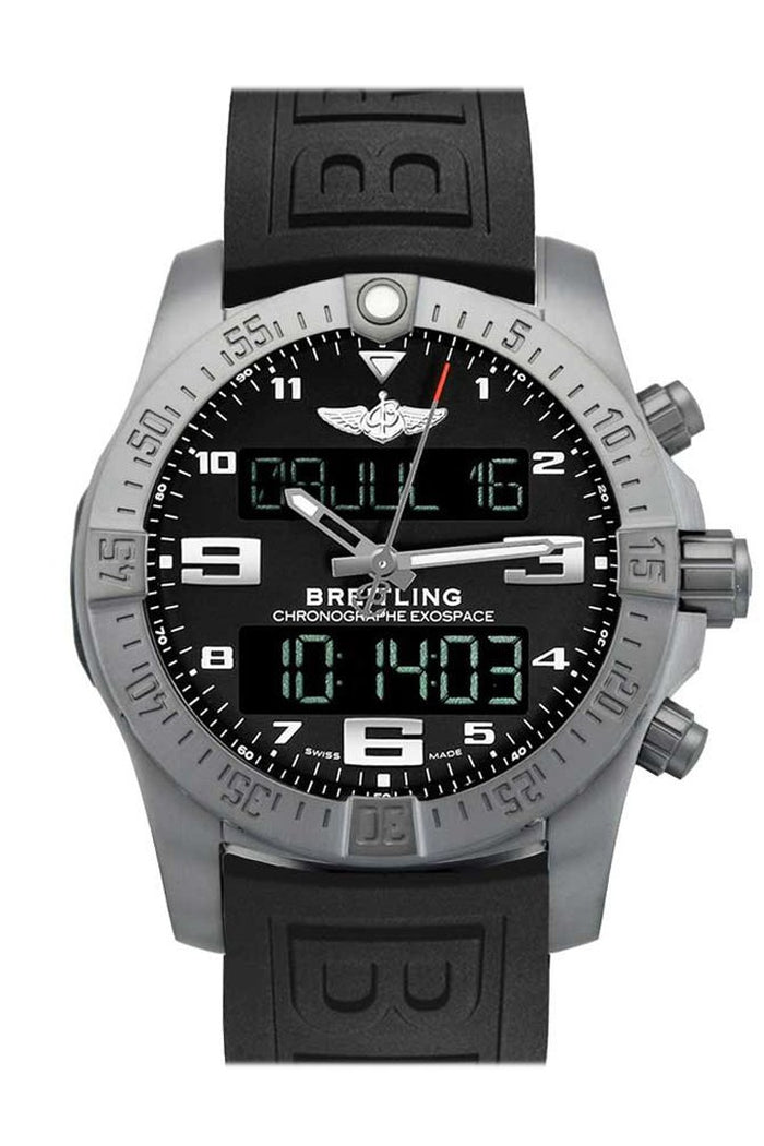 Breitling B55 Bluetooth Connected Chronograph in Titanium on Black Rubber Strap with Volcano Black Dial  EB5510H1 BE79