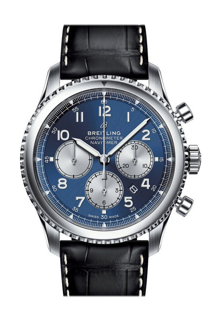 Breitling Navitimer 8 B01 Chronograph Blue Dial Leather Men's Watch AB011713