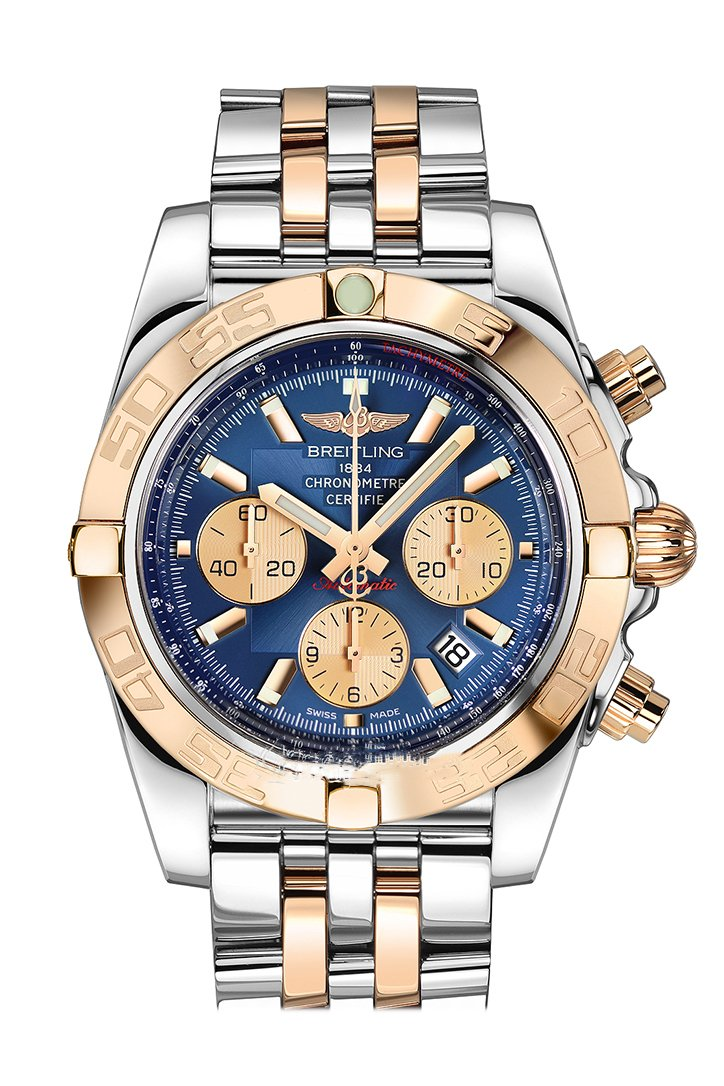 Breitling Chronomat 44 Blue Dial Steel and Rose Gold Automatic Men's Watch CB011012-C790