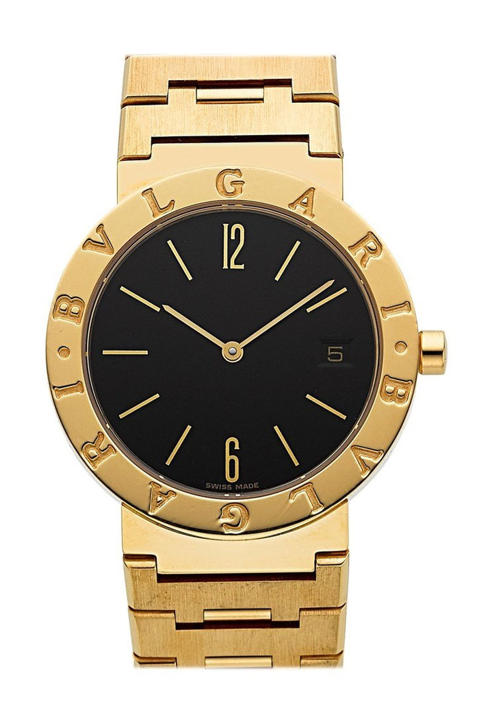 Bulgari BB 33 GG Black Dial 33mm in Yellow Gold Bracelet with White Dial BB33GG