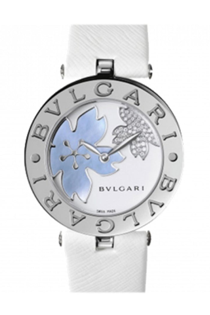 Bulgari B.zero1 White Flower Motif Dial White Leather Strap Ladies Watch 101900 BZ30FDSL