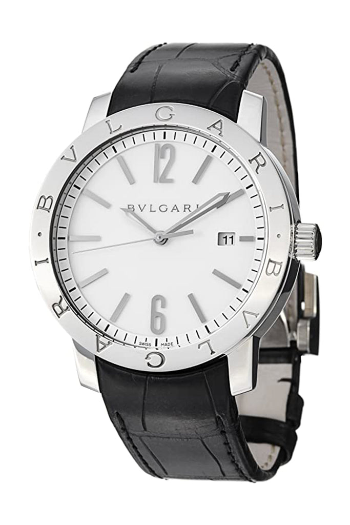 Bvlgari Automatic White Dial Black Leather Men's Watch BB41WSLD