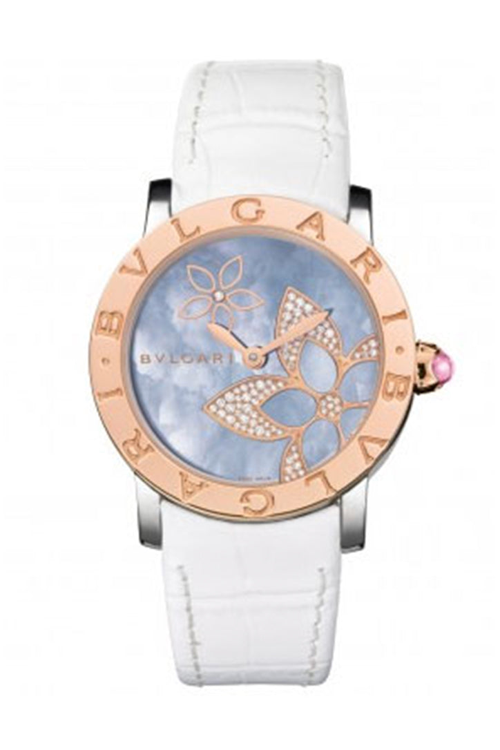 Bvlgari Bulgari Bulgari Watch Blue Mother-Of-Pearl Dial 33mm Steel And Pink Gold Case -