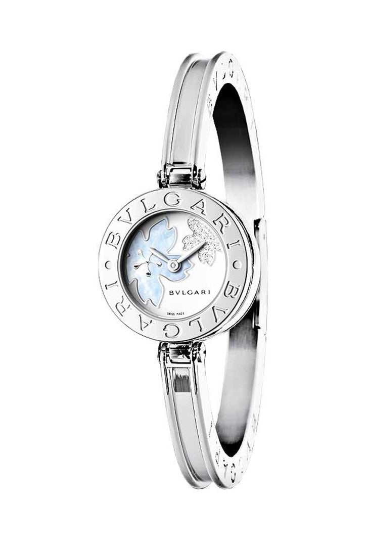 Bvlgari B Zero1  Quartz Steel Bracelet with Mother of Pearl Inlay Diamond Dial Ladies 22mmBZ22FDSS