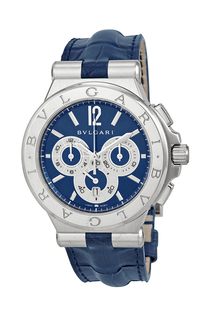 Bvlgari Diagono Blue Dial Blue Alligator Leather Men's Watch DG42C3SLDCH