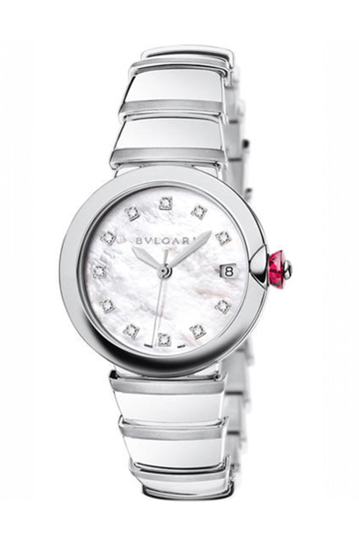 Bvlgari Lvcea Stainless Steel Case 36mm White Mother-Of-Pearl Dial Steel Bracelet Watch LU36WSSD/11