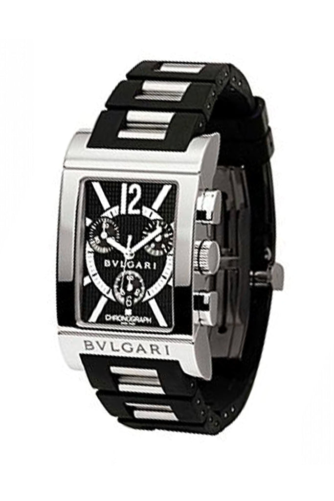 Bvlgari Rettangolo Black Dial Rubber/Stainless Steel Men's Watch RTC49BRSVD