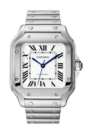 Cartier Santos Midsize Silvered Opaline Dial Men's Watch Item No. WSSA0029