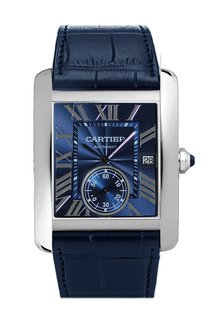 Cartier Tank MC Blue Dial Stainless Steel Men's Watch WSTA0010