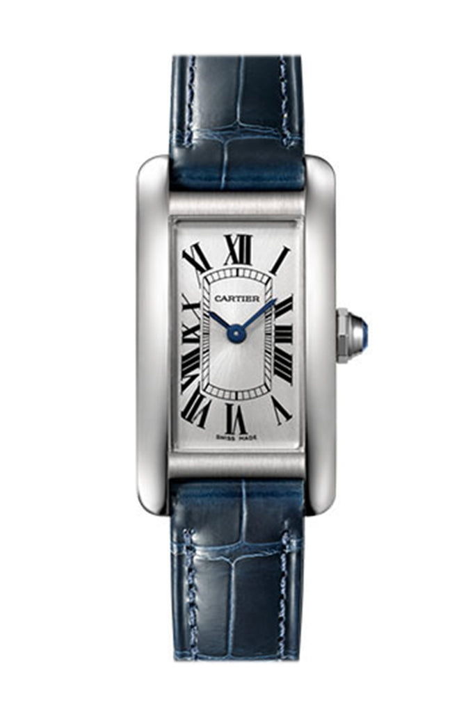 Cartier Tank Americaine Silver Dial Navy Leather Ladies Watch WSTA0016