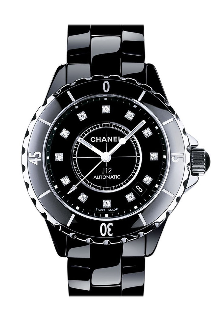 Chanel J12 Diamonds Black Dial Unisex Watch H1626