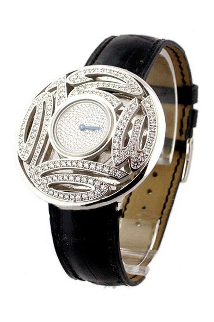 Chopard Lady's Round Boutique Diamond Dial Black Leather Strap Ladies Quartz Watch 137129-20